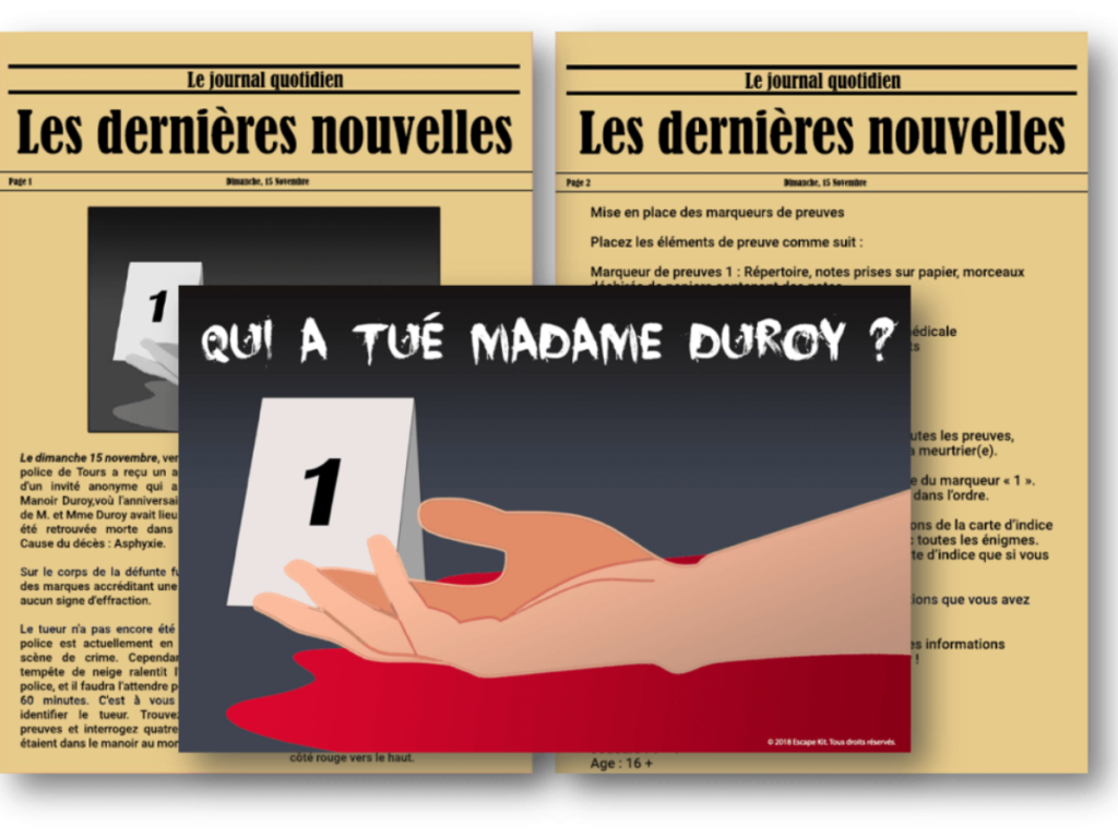 Qui a tué Madame Duroy - Escape Kit